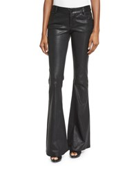 Alice Olivia Leather Flare Pants Black