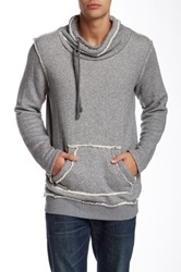 Shine Cowl Neck Hooded Long Sleeve Sweater Gray