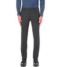 Corneliani Checked Wool And Cashmere Blend Trousers Charcoal