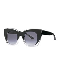 Intimacy Square Cat Eye Sunglasses Black Clear Thierry Lasry