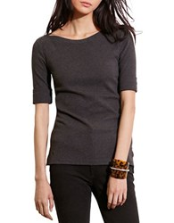 Lauren Ralph Lauren Petite Stretch Cotton Boatneck Tee Dark Grey