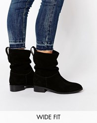 Asos Anika Wide Fit Suede Pull On Ankle Boots Black