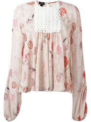 Giambattista Valli Floral Print Chest Panel Blouse Pink And Purple