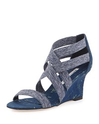 Manolo Blahnik Glassa Strappy Cork Wedge Sandal Denim Blue Women's