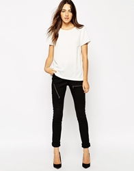 Vero Moda Fitted Long Leggings With Zip Detail Black