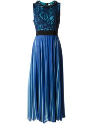 Msgm Embellished Collar Overlay Lace Pleated Dress Blue
