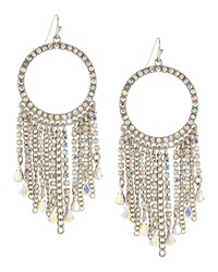 Fragments For Neiman Marcus Fragments Rhinestone Hoop Tassel Earrings Silvertone
