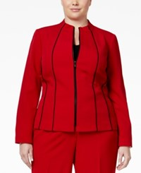 Kasper Plus Size Crepe Zip Front Piped Trim Jacket Fire Red Black
