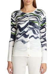 Piazza Sempione Printed Silk And Cashmere Cardigan White Navy Multi