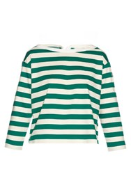 Moncler Long Sleeved Striped Cotton Jersey Top Green White