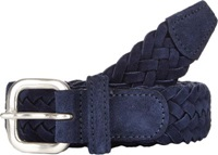 Barneys New York Leather Suede Braided Belt Blue