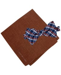 Tommy Hilfiger Men's Grid To Tie Bow Tie And Dot Pocket Square Set Orange