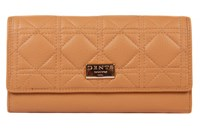 Dents Ladies Flap Over Quilted Purse Stone