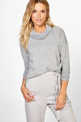 Boohoo Cowl Neck Knitted Jumper Grey