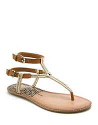 Dolce Vita Kendra Flat Plaited Ankle Strap Sandals Gold