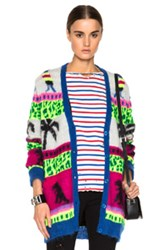Saint Laurent Jacquard Mohair Dinosaur Cardigan In Neon Abstract Pink Green Gray Blue