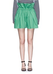 Ports 1961 Paperbag Waist Drawstring Cotton Twill Shorts Green