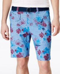 American Rag Men's Floral Print Flat Front Shorts Only At Macy's Blue Combo