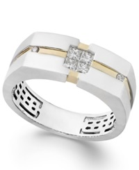 Effy Collection Gento By Effy Men's Diamond Two Tone Ring In 14K White And Yellow Gold 1 3 Ct. T.W.
