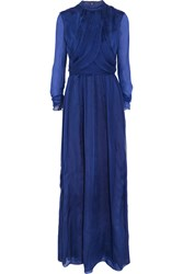 Matthew Williamson Draped Silk Chiffon Gown Blue