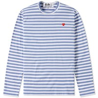 Comme Des Garcons Play Little Red Heart Long Sleeve Striped Tee Blue