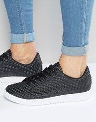 Asos Lace Up Trainers In Black Pyramid Black