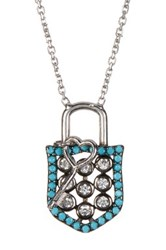 Argentovivo Sterling Silver Cz Shield And Key Pendant Necklace Blue