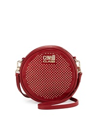 Class Roberto Cavalli Round Diane Studded Leather Crossbody Red