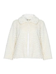 Yumi Fur Fold Over Jacket Cream