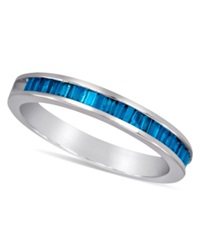 Macy's Sterling Silver Ring Blue Diamond Baguette Ring 1 2 Ct. T.W.