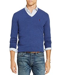Polo Ralph Lauren Stretch Merino Slim Fit V Neck Sweater Shale Blue