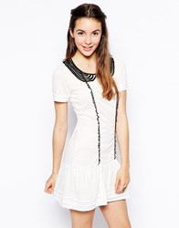 Pussycat London Contrast Colar Dress White