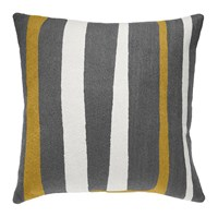 Judy Ross Textiles Stripe Dark Grey Cream Curry Pillow