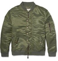 Casely Hayford Lambton Ma 1 Satin Bomber Jacket Army Green