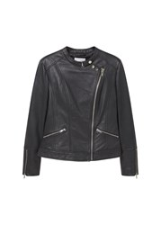 Mango Zip Leather Jacket Black