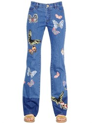 Valentino Butterfly Patches Cotton Denim Jeans