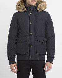 Tommy Hilfiger Navy Hampton Removable Fur Collar Parka Blue