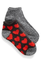 Nordstrom Women's 'Butter' Ankle Socks Black Licorice W Red Hearts