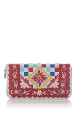 Dolce And Gabbana Printed Leather Wallet Red White Blue