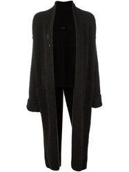 Isabel Benenato Long Open Cardigan Brown