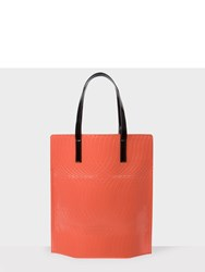 Paul Smith No.9 Women's Black And Coral Patent Leather Tote Bag Orange