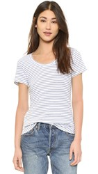 The Lady And The Sailor Basic Scoop Tee White Crinkle Stripe