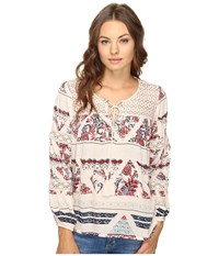 Brigitte Bailey Gizela Long Sleeve Printed Top With Lace Cream Multi Women's Clothing Gray