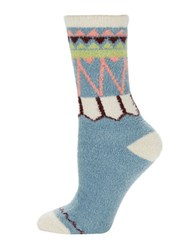Free People Striped Plush Crew Socks Blue Combo
