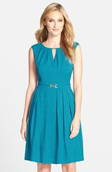 Ellen Tracy Women's 'Kenya' Fit And Flare Dress Teal