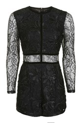 Topshop Tall Lace Playsuit Black
