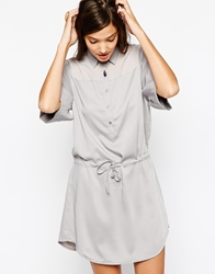 Paisie Shirt Dress With Drawstring Waist Grey