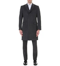 Gieves And Hawkes Textured Wool Cashmere Coat Charcoal
