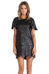 J.O.A. Floral Cutout Faux Leather Dress Black