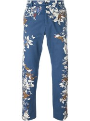 Dolce And Gabbana Floral Print Chinos Blue